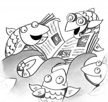 Heringe lesen Zeitung